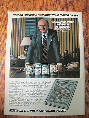 """Quaker State Motor Oil Advertising Print Ad Quart Can ~ 8"""" by 10.75"""