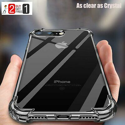 iPhone XR 7 8 Plus XS Max Case Crystal Clear Hard / Soft Shockproof Hybrid Case