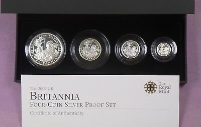 2009 Royal Mint Silver Proof Britannia Four Coin Set Cased & Cert