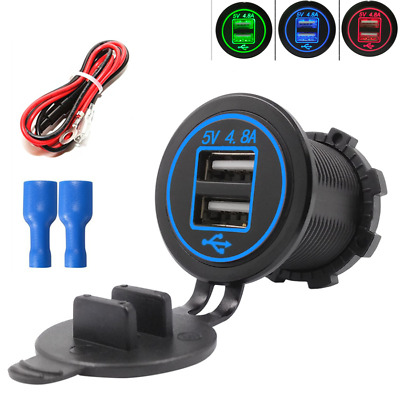 1x Universal Auto Truck 2* 2.4A USB Charger Blue LED 10A Fuse for iPhone Samsung