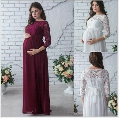WOMEN PREGNANT LACE Long Sleeve Maxi Ball Gown Photography Prop ...