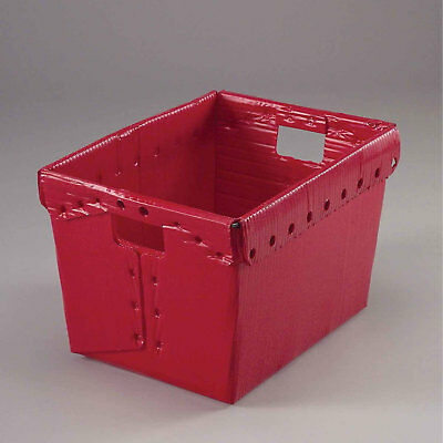 Postal Mail Tote Without Lid, Corrugated Plastic, Red, 18-1/2x13-1/4x12, Lot of