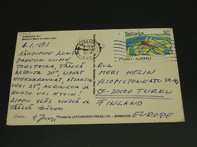 Barbados 1991 postcard to Finland *5647