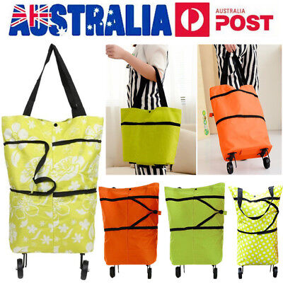 Shopping Trolley Cart Bag Foldable Market Luggage Wheels Pack Basket Pull Bag AU