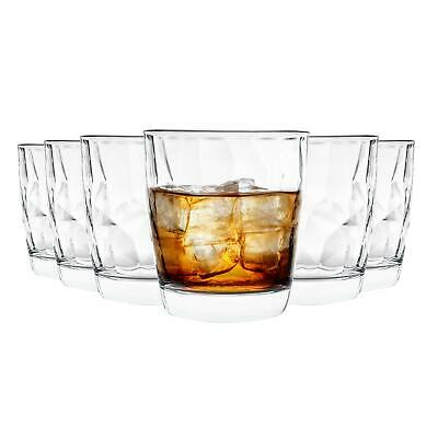 Dimpled Tumblers Glasses Clear Drinking Diamond Whisky Glasses 300ml - Set of 6