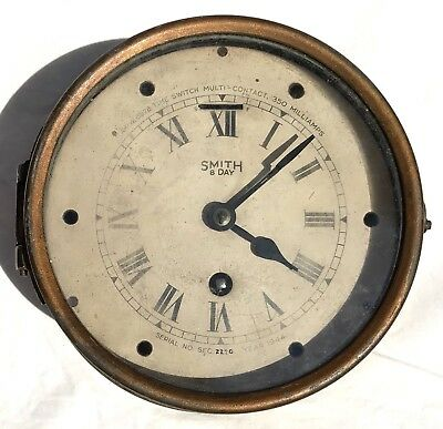 Lovely Brass Bulk Head Ships Clock By Smiths 1944 Working Perfectly