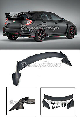 Back Trunk Spoiler Wing Visiblility Black Kit For 16-Up Honda Civic Hatchback