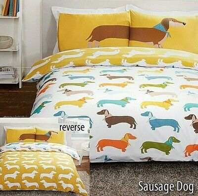 Dachshund Sausage Dog Quilt Cover White Yellow Orange Funny Bedding Set FREE P&P
