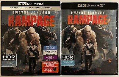 Rampage 4K Ultra Hd Blu Ray 2 Disc Set + Slipcover Sleeve Free World Shipping