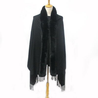 Beautiful Soft Ladies Black Large Body Scarf with Long Faux Fur & Tassels (S544)