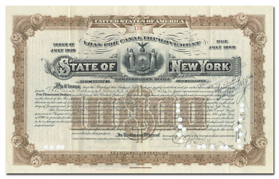 State of New York Bond Certificate - Erie, Oswego & Champlain Canals