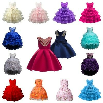 Toddler Baby Girls Princess Dress Kids Pageant Party Wedding Birthday Dress USA