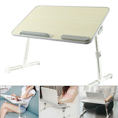 Portable Adjustable Mobile Wooden Laptop Study Desk Stand Bed Side Table