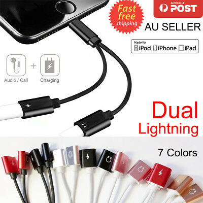 Dual Lightning Adapter Charging Splitter Audio Earphone Cable For iPhone X 7 8