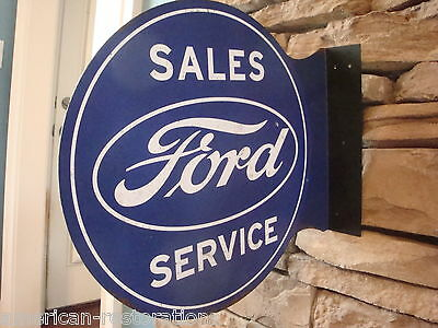Ford Sales Service 2 Sided Pub Style Flange Tin Garage Man Cave Metal Sign New