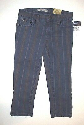 New Nwt Girls Ralph Lauren Blue Striped Denim Cropped Skinny Capri Pants  Jeans 5 80fe638df30