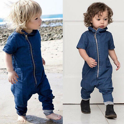 Cool Kids Baby Boy Denim Romper Toddler Short Sleeve Clothes  Jumpsuits  Outfits