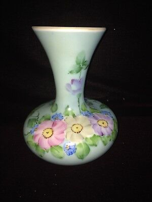 """Antique 9 1/4"""" Milk Glass Vase Hand Painted Pansy Floral Victorian Stunning"""