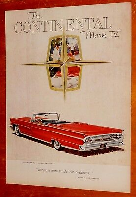 Red 1959 Lincoln Continental Mark Iv Convertible - Vintage Classic American Ad