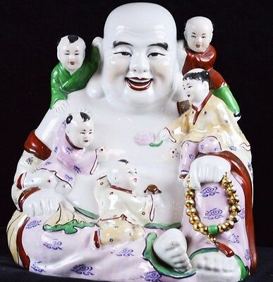 """HUGE 13"""" Chinese Famille Porcelain Happy Buddha with 5 Children Statue"""