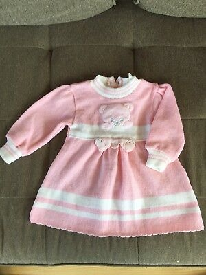 Vintage Baby Toddler Dress Pink White 12 Months Teddy Bear Applique Prep