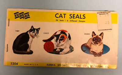 Vintage Eureka Cat Seals Stickers Copyright 1960-61 Unused Booklet 36 Retro Cats