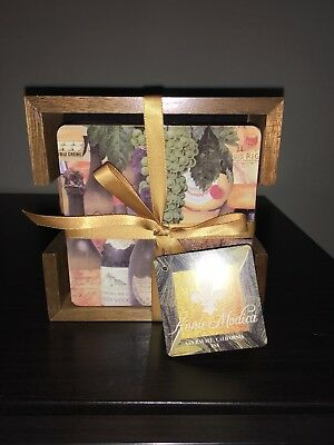 "ANNIE MODICA Set of FOUR 4 ""Wine And Cheese"" Coasters Wood Holder NEW Gift"