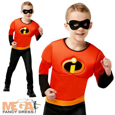 Incredibles 2 Boys Muscle Chest Top Fancy Dress Book Day Kids Superhero Costume