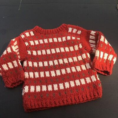 Vtg Baby Gap Sweater 3t Boys Chunky Knit Wool Pullover Thick Warm Rusty Red Soft