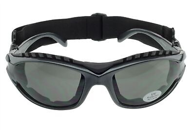 Padded Motorcycle Sunglasses Riding Glasses Goggles Strap Foam UV400 Gray Gray