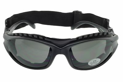 Padded Motorcycle Sunglasses Riding Glasses Goggles Strap Foam UV400 Matte Gray
