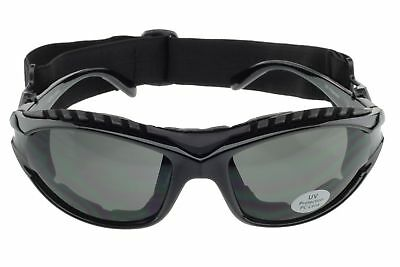 Padded Motorcycle Sunglasses Riding Glasses Goggles Strap Foam UV400 Black Gray