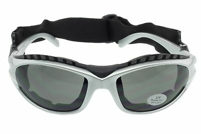 Padded Motorcycle Sunglasses Riding Glasses Goggles Strap Foam UV400 Silver Gray