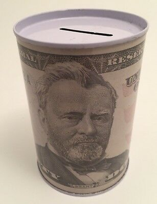 Tin Money Savings Piggy Bank with Ulysses Grant $50 Bill Money Coin Saver