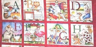 Hungry Animals Alphabet Fabric Cotton Craft Quilting Large Panel A