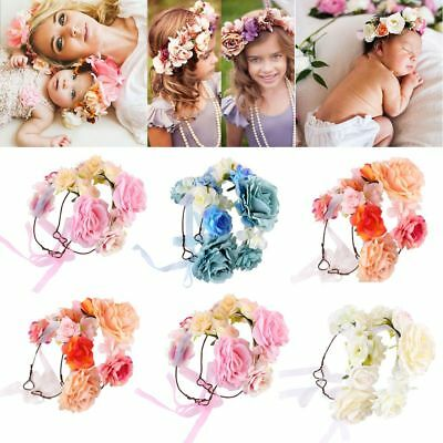 Floral Garland Rose Flower Hairband Photography Props Parenting Crown Headband