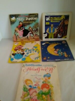 Lot Of 5 Vintage See-Hear-Read Books with Records