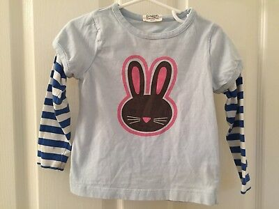Mini Boden Girls Bunny Top Shirt Blue Striped Sleeves Size 2 - 3 Years