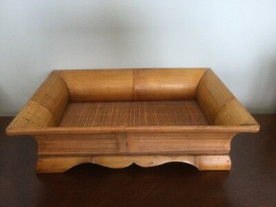 Large Bamboo & Rattan Vintage Rectangle Basket Dining Room Table Tray Decor