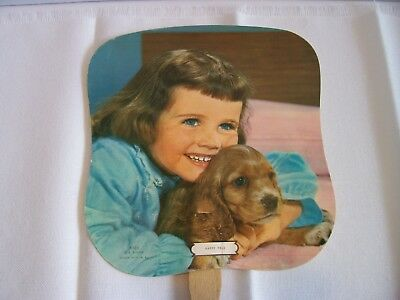 Vintage funeral home fan Little Girl Puppy Lipe Northville NY Happy Pals