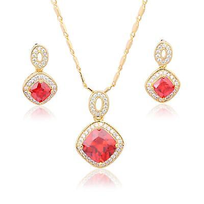 New Fashion Set Necklace Pendant Earrings Ring 750 18 Kt Gold-plated Rose Gold S3094 Fine Jewelry Sets Fine Jewelry