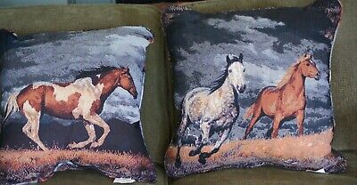 """Western Decor Horse Decorator Pillows, 20""""x20"""",Set of Two, 2 sided, Marshfield"""