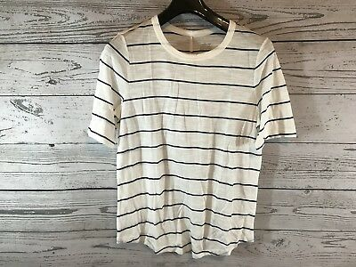 top-rated newest fantastic savings hot-selling clearance Banana Republic Womens White Black Striped Soft Malibu Tee Shirt Size Large  NWT