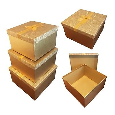Gold Glitter Square Gift Boxes Birthday Present Storage Any Oaccasion