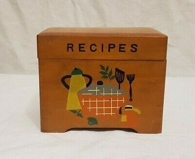 VTG Wooden Recipe Box 1950's. Made In Japan. Mid Century Modern Kitsch Kitschy
