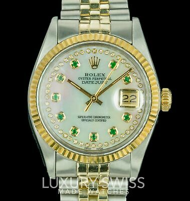 90763ac53f2 ROLEX MEN S DATEJUST Two-Tone 36mm MOP Diamond Dial Fluted Bezel ...