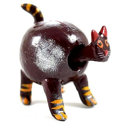Handmade Oaxaca Copal Wood Carving Folk Art Kitten Cat Bobble Head Figurine