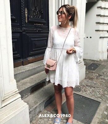 c8cfd38aa85  NWT ZARA SS18 OFF WHITE EMBROIDERED DRESS WITH PERFORATIONS 4786 078