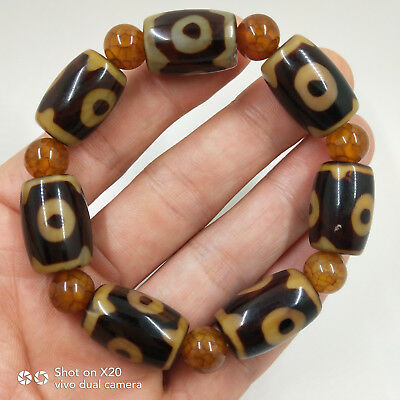 China's Tibet old agate chakra agate Day bead bracelet WithTibetan silver#0003