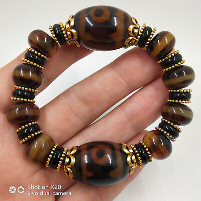 China's Tibet old agate chakra agate Day bead bracelet WithTibetan silver#0002